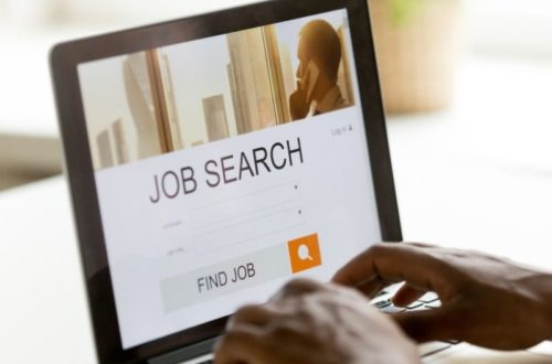person looking for job online